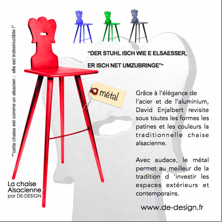 David Enjalbert et DE-DESIGN presente les chaises alsaciennes en metal Acier et aluminium